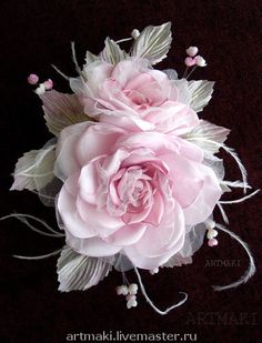 Fiera Masters – Roses a My Turanzhel. Hecho a mano. Shabby Flowers, Satin Flowers, Fake Flowers, Diy Flowers, Artificial Flowers, Fabric Flowers, Pink Roses, Beautiful Flowers, Floral Ribbon