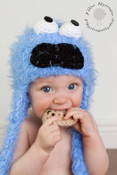 Cookie monster inspired hat with removable cookie by madicyn09lee, $22.00