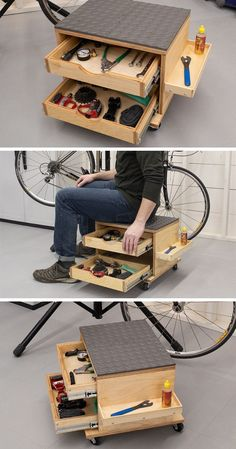 Rolling Work Seat and Tool Storage Cart - wood .-Rolling Work Seat and Tool Storage Cart – wood working plans Rolling Work Seat and Tool Storage Cart - Woodworking Garage, Garage Tools, Woodworking Projects Diy, Diy Wood Projects, Woodworking Classes, Woodworking Quotes, Woodworking Chisels, Woodworking Equipment, Youtube Woodworking