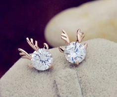 Rose Gold filled reindeer head / antler earrings, stud earrings by BloomsJewels on Etsy