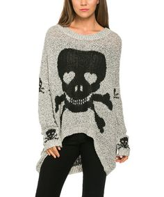 Gray & Black Skull Hi-Low Sweater