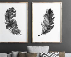 Black Feather Silhouette Set 2 Prints, Two Feathers Art Print Living Room Drawing Wall Decoration, Native American Bedroom Illustration
