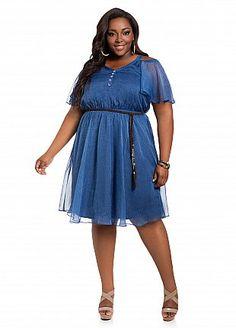 34253d9a Ashley Stewart Women's Plus Size Chambray Chiffon Cold Shoulder Dress  Express Chambray 16