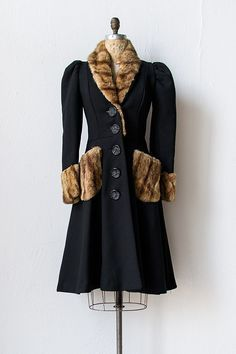 vintage 1930s mink fur trimmed princess coat
