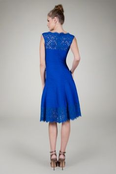 Pintuck Jersey Boatneck Dress with Sheer Lace Detail in Marina - Cocktail Dresses - Evening Shop | Tadashi Shoji