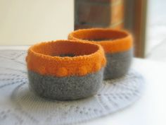 Felted bowls - Organic eco-friendly - Tangerine orange and grey with a texture