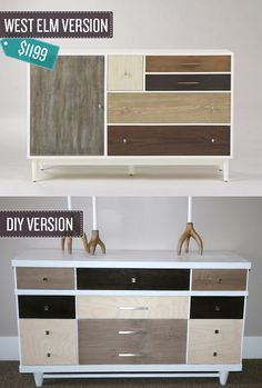 Transform a used dresser into a beautiful, color blocked version. I 24 West Elm Hacks