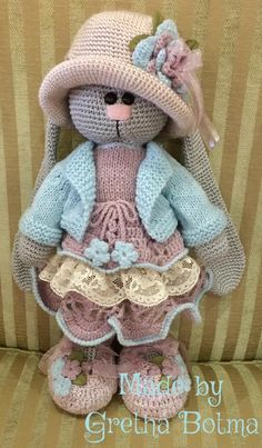 Bunny pattern by Irina Tarasova. Dress pattern combination of designer's and… Bunny pattern by Irina Tarasova. Dress pattern combination of designer's and my own. All other garments my own patterns. Made by Gretha Botma No automatic alt text available - Crochet Animal Patterns, Crochet Doll Pattern, Stuffed Animal Patterns, Baby Knitting Patterns, Amigurumi Patterns, Doll Patterns, Crochet Bunny, Diy Crochet, Knitted Dolls