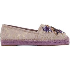 Dolce and Gabbana Purple Embellished Lace Espadrilles ($930) ❤ liked on Polyvore featuring shoes, sandals, embellished sandals, floral print sandals, lace-up sandals, dolce gabbana shoes and espadrille sandals