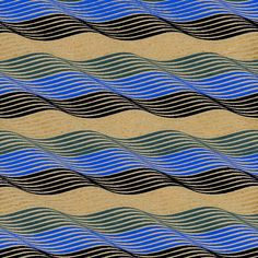 Lyrical Contours - Ripples in Blue, Black & Tan. From India