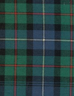 Robertson Hunting Tartan Fabric An ancient tartan in blue green and black with a dash of red and white, suitable for curtains and heavy wear upholstery.