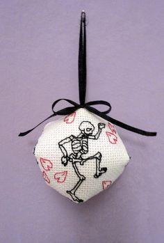 Goth Skeleton Sakura keychain Biscornu Dance macabre Cherry blossom  Needle cushion  Black