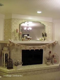 Brick Fireplace Updating  This is what I want... Maybe not this color... but this is the look I think will work... bench all around the bring... Ohhhh How I would love to decorate that....