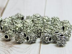 20pcs - 8x7mm - Barrel Beads - Metal Beads - Large Hole Beads - Antique Silver - Silver Beads - Spacer Beads - Pewter Beads - (B703) by SupplyCentralShop on Etsy https://www.etsy.com/listing/547867526/20pcs-8x7mm-barrel-beads-metal-beads