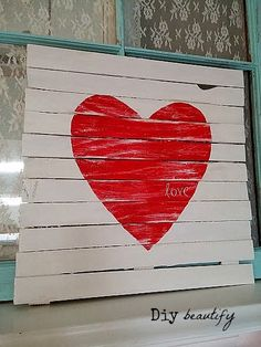 How to make a Mini Pallet Valentine Sign (using wood shims!) Tutorial from DIY Beautify
