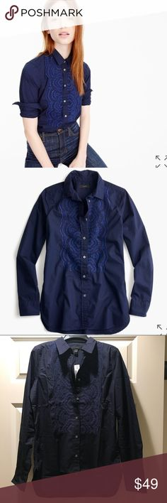 J.Crew shirt Button-up shirt in embroidered cotton poplin Brand new J. Crew Tops Button Down Shirts