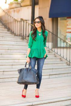 387a8611da5840 Color Love    Pleated peplum silk   Red pumps. Green Blouse ...