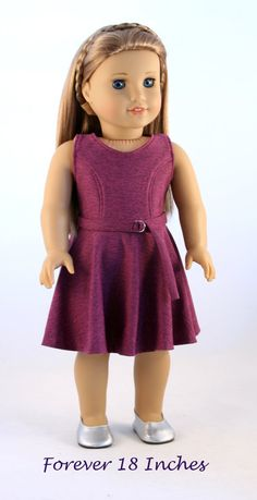 WINE-COLORED KNIT DRESS by Forever18Inches on Etsy $32.00