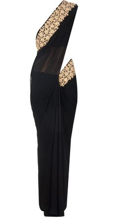 Black embroidered sari by RIDHI MEHRA. Shop at http://www.perniaspopupshop.com/whats-new/ridhi-mehra-black-embroidered-sari-rmc0913s27.html