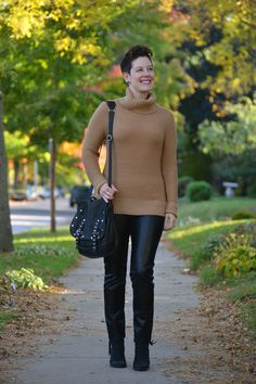 Already Pretty outfit featuring camel sweater, leather pants, Rebecca Minkoff Logan, black ankle boots