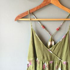 Free people tank Green floral print free people tank top. Beads freely movable. In perfect condition  Free People Tops Tank Tops