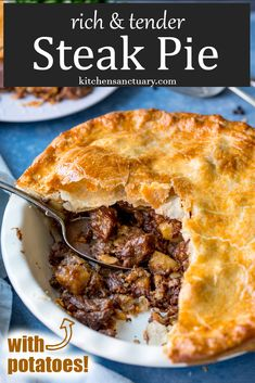 A rich and delicious steak pie, filled with slow-cooked fall-apart beef, potatoes and gravy and encased in buttery golden pastry. Tasty comfort food for dinner. Slow Cooker Recipes, Beef Recipes, Cooking Recipes, Curry Recipes, Recipies, Cooking Fish, Tart Recipes, Kitchen Recipes, Slow Cooked Steak
