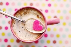 Gifts Delight Laminated inches Poster: Hot Chocolate Heart Beverage Spoon Polka Dots Colors Pink Heart Mug Cocoa Treat Warm Valentine Milk Foam Froth Mocha Tasty Snack Relaxation Food Coffee Heart, I Love Coffee, Sweet Coffee, Coffee Coffee, Morning Coffee, Coffee Stock, Coffee Cups, Coffee Jelly, Coffee Today