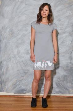 One of our most popular styles, the basic t-shirt dress suits a range of occasions and pairs well with leggings or boots during chillier months. Dress Suits, Shirt Dress, T Shirt, Gray Dress, Short Sleeve Dresses, Leggings, Casual, Model, Clothes