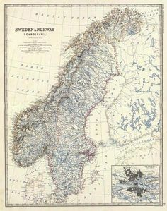 Sweden, Norway, 1861 Giclee Print Poster by Alexander Keith Johnston Online On Sale at Wall Art Store – Posters-Print.com