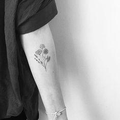 Lovethe weeds not the flowers Tiny Flower Tattoos, Dainty Tattoos, Delicate Tattoo, Small Tattoos, Dream Tattoos, Future Tattoos, Flower Bouquet Tattoo, Heel Tattoos, Pointillism Tattoo