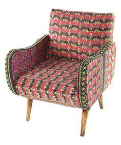 Look at this #zulilyfind! Red Floral Kantha Lounge Chair #zulilyfinds