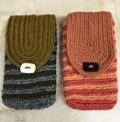 """Two needlebound / nalbound mobile phone cases/pouches, by Brigita Sagadin.  Made with doubled two-ply yarn and the Mammen stitch, except for the thinner """"lid"""" where she used Långaryd stitch with one strand of two-ply yarn (and also button for keeping the pouch closed at the front). Posted [in Swedish] 2016-02-13 in the Nålbindning group @ Facebook. Please see link for original post!"""