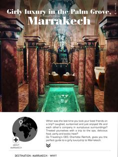 Girl luxury tips for a weekend in Marrakesh. Find it in Go Traveling International, free download on your mobile or iPad/tablet