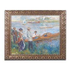 Trademark Fine Art Oarsmen at Chatou 1879 inch Canvas Art by Pierre Renoir, Gold Ornate Frame, Size: 16 x 20