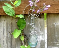 Hanging Vase - for flowers or rooting starts or just looking pretty -- Clear teardrop celtic loops -outdoors, indoors, patio, kitchen. $16.00, via Etsy.