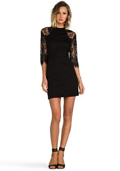 1f2c79f9e7 BB DAKOTA Princeton Ponte Dress w  Lace Sleeves in Black - Dresses