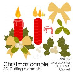 Christmas candle 300 dpi svg, dxf, jpg, ai, eps, png Clip Art 3D Cutting elements Xmas Noel Die Cut file for Silhouette Cameo EasyPrintPD