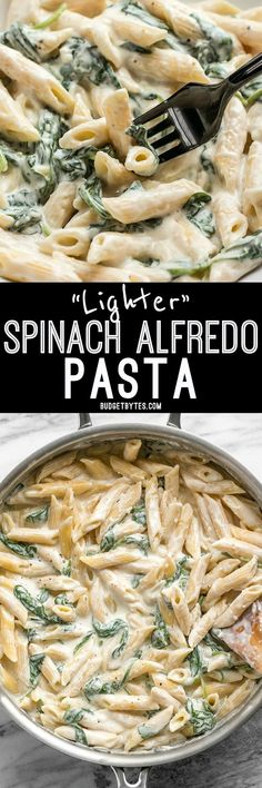 Creamy and rich, yet never heavy, this Lighter Spinach Alfredo Pasta is an easy and satisfying comfort food.
