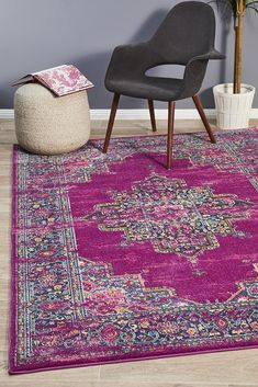 Mez Fuchsia Rug - Online Only Rugs On Carpet, Classic Rugs, Eclectic Rugs, Rugs, Modern Rectangle, Area Carpet, Rugs Online, Bohemian Rug, Purple Rug