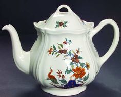 Wedgwood Chinese Teal Teapot & Lid, Fine China Dinnerware Rust Floral, Bird, G