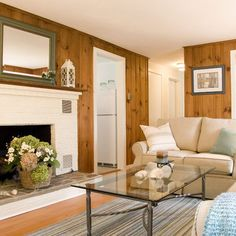 House of Turquoise: Judy Cook Interiors freshen knotty pine paneling Knotty Pine Living Room, Knotty Pine Decor, Knotty Pine Rooms, Knotty Pine Paneling, Cottage Living Rooms, Living Room White, White Rooms, My Living Room, Living Room Decor