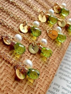 Items similar to SPECIAL Bridesmaid Gifts - SET OF 5 Personalized initial disc with birthstone (Peridot ) gold filled chain Necklaces on Etsy