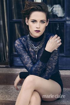 Kristen Stewart | Bodysuit by Balmain, shorts by Genetics Los Angeles, ear cuff by Elise Dray, necklace by Stephen Webster and claw ring by Yeprem | Photog: TESH | Marie Claire (US) August 2015