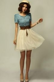 Sweet Crochet Peter Pan Collar Denim Dress - OASAP.com