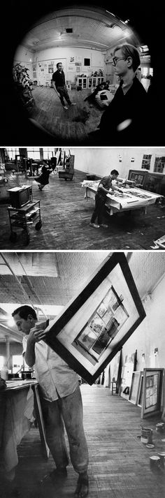 Robert Rauschenberg working in his studio
