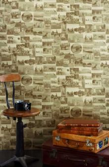 This Other Eden Wallpaper  A collage of nostalgic British scenes - ranging from war time images to country pursuits - taken from original 19th and 20th century photographs in sepia with a vintage gold finish.