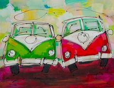 Vrolijk schilderij van twee volkswagen busjes van de kunstenaars van Fiore