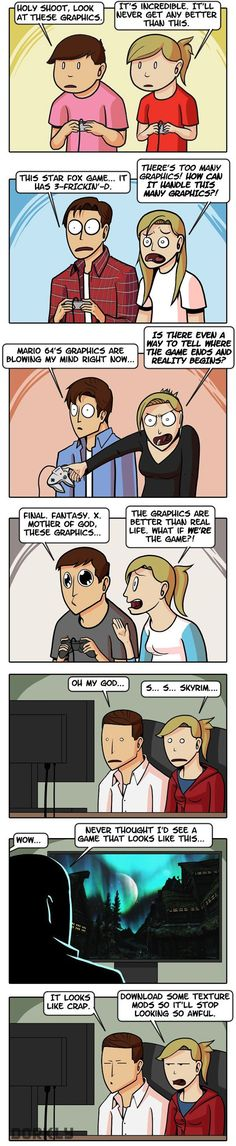 The Totally True History of Video Game Graphics. Which cracks me up because skyrim has the best out of all of those 😂 ~maddie~ Video Game Logic, Video Games Funny, Funny Games, Star Fox, Gamer Humor, Gaming Memes, King's Quest, Dorkly Comics, History Of Video Games