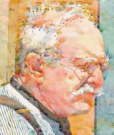 Ted Nutall, watercolor {male head eyeglasses mustache elderly man face profile portrait cropped painting detail #2good2btrue} tednuttall.com