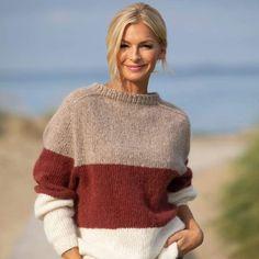 Strikk The Look: Dans-genser burgunder Knitted Coat, Mohair Sweater, Chunky Knitting Patterns, Knitting Designs, Raglan Pullover, Fingerless Mittens, Fall Shirts, Friends Fashion, Stockinette